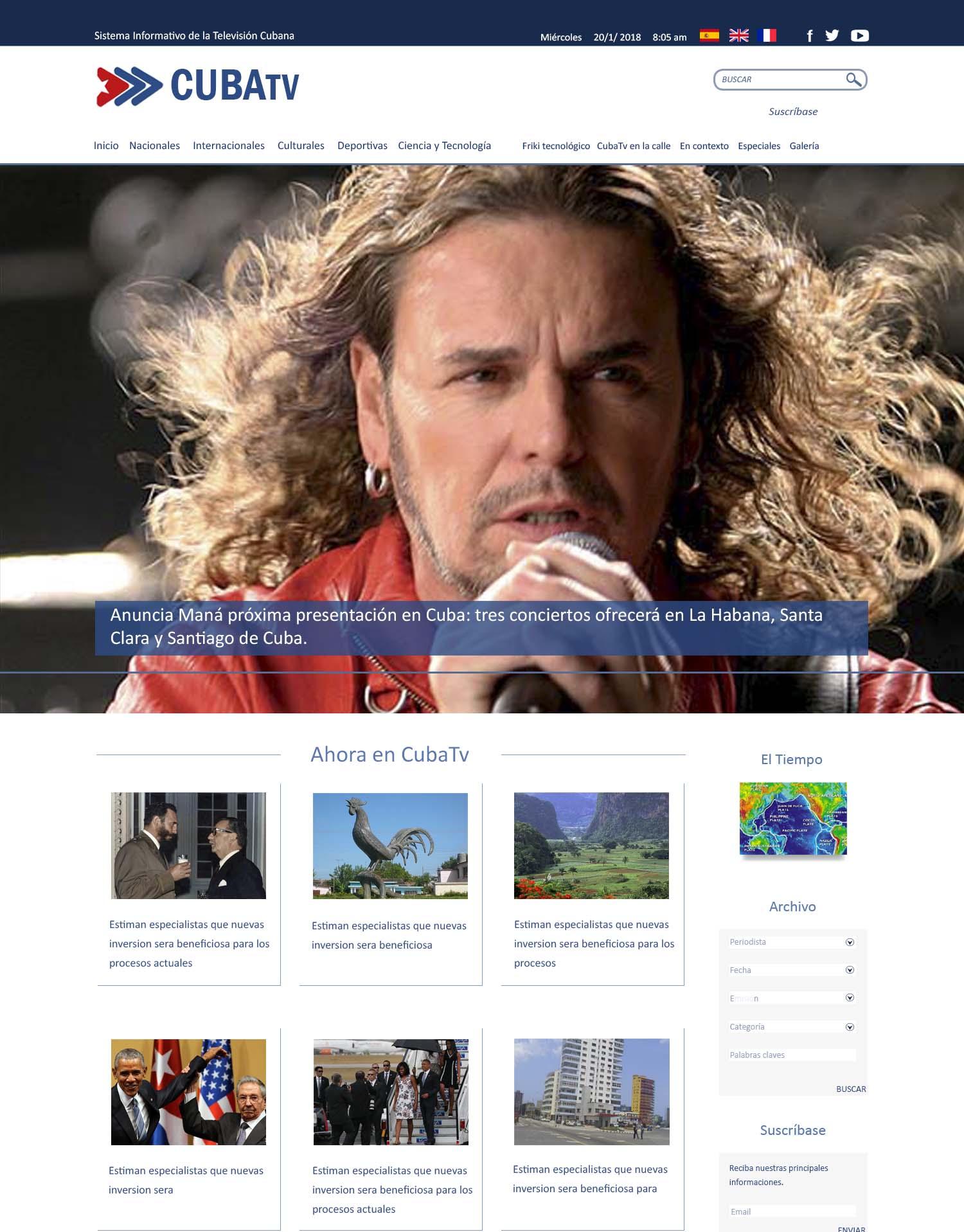 Web del Sistema Informativo de la Televisión Cubana
